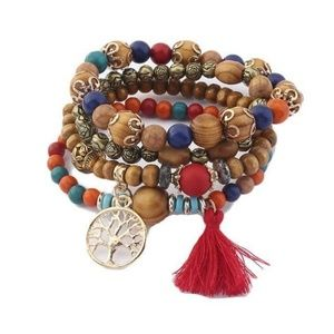 Jewelry - Bohemian Tree of Life Bracelet Stack in Red